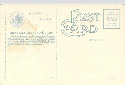 The Great Salt Lake Cut Off, Utah Steam Engine and Train Vintage Postcard