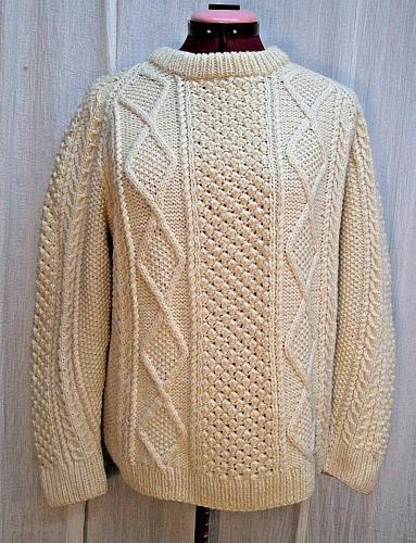 S52J The Irish Shop Hand Knit Fishermans Aran Cable Knit Sweater Pullover Mens M
