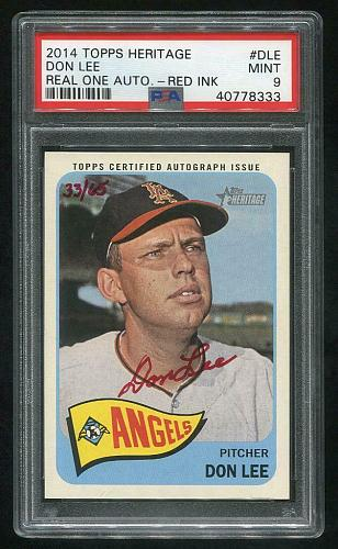 2014 TOPPS HERITAGE REAL ONE RED AUTO DON LEE PSA 9 MINT (40778333)