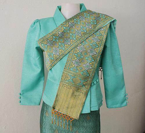 Mint Lao Laos 3/4 Sleeve Silk Blouse size 6 Sinh Skirt Pha Bieng Beads Clothing