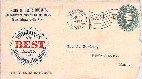Pillsbury's Best Minneapolis, Minn. Boston Flag Type 4 Cancel Cover