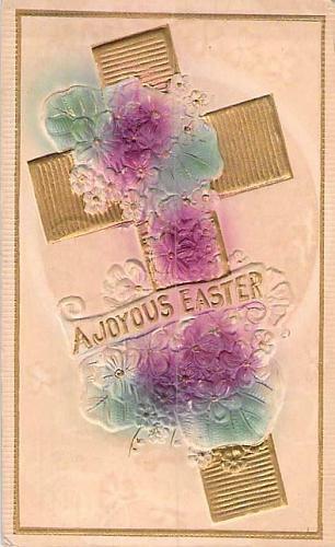 A Joyous Easter, Cross Embossed Air Brushed Vintage Postcard #2