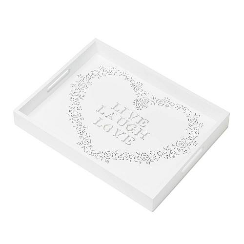 *17441U - Live Laugh Love Floral Heart White Wood Serving Tray