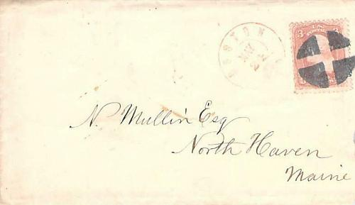 Boston 1865 Cover w/ Letter From Sears Re Order Confusion