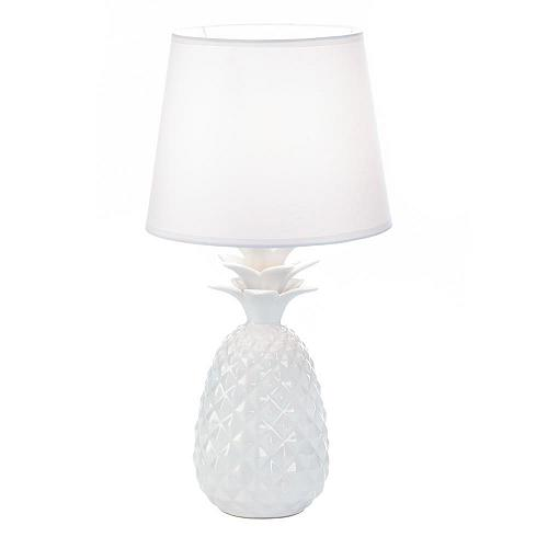 *18334U - Pineapple Base White Ceramic Table Lamp w/Fabric Shade