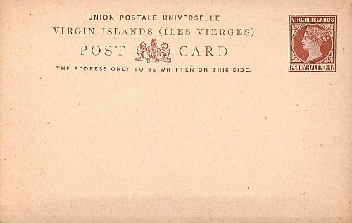 Virgin Islands Queen Victoria Postal Card, Penny Half Penny Mint Never Used