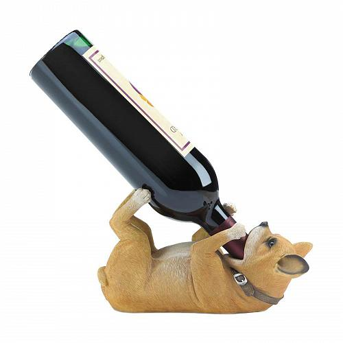 *17530U - Chihuahua Pup Tabletop Single Wine Bottle Holder