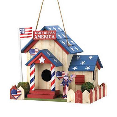 15282U - Patriotic Red White & Blue Wood Birdhouse