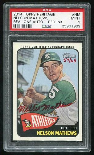 2014 TOPPS HERITAGE REAL ONE RED AUTO NELSON MATHEWS PSA 9 MINT (25901909)