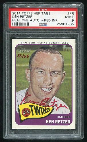2014 TOPPS HERITAGE REAL ONE RED AUTO KEN RETZER PSA 9 MINT (25901905)