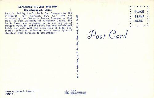 St. Louis Car Co. Car 1440, Pittsburgh Railways, PCC Car Vintage Postcard