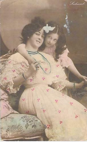 Czarist Russia Era Mother and Young Girl Tinted Photo Used Postcard