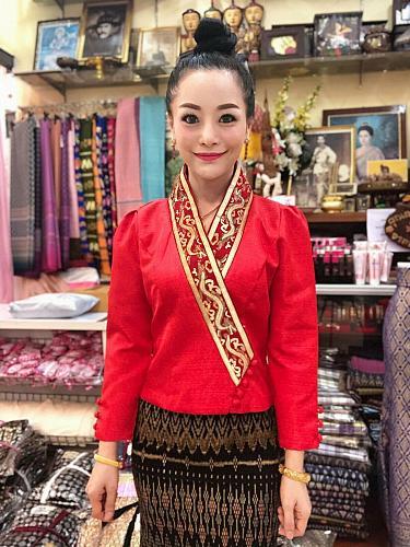 Lao Laos Laotian Clothing Red Suea pat V-Neck Blouse Wrap Shirt Silk Size XS