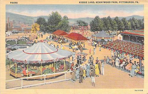 Kiddie Land, Kennywood Park, Pittsburgh PA Vintage Linen Postcard