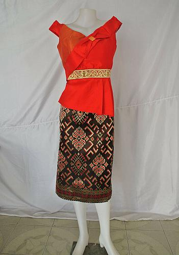 Red Lao Laos Synthetic Silk Sleeveless Blouse Black Sinh Skirt Outfit Size M