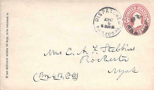 Philadelphia Scarce Dispatched Postmark U58 Cover Circa 1867