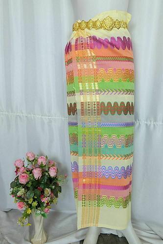 Myanmar Traditional Design Fashion Fabric for Clothing Dress Long longyi Skirt