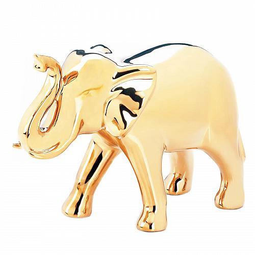 """*18252U - Large 6.75"""" High Shine Golden Ceramic Elephant Figure"""