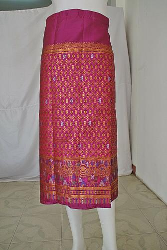 Pink Lao Laos Synthetic Silk 3/4 Sleeve Blouse Sinh Skirt Clothing Outfit Size L