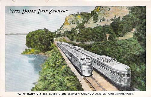 Vista Dome Twin Zephyrs Burlington Route Unused Vintage Postcard