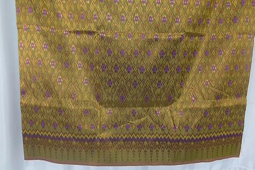 Thai Tradition Green Purple Synthetic Silk Fabric For Top Skirt Wedding dress E9
