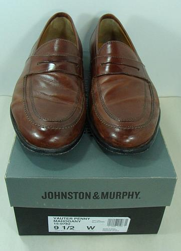 Johnston & Murphy Mens Leather Shoes Vauter Penny Loafer Semi-Dress 9.5W 15-0782