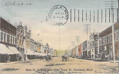 Bozeman Montana Main St. Looking East from Tracy St. Postcard