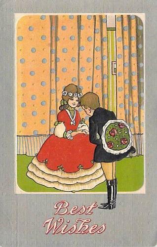 Best Wishes (Birthday) Young Children Art Illustrated Vintage Postcard