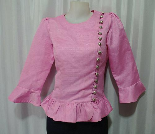Pink Lao Laos 3/4 SLeeve India silk Blouse Tops Clothing Outfit size XS