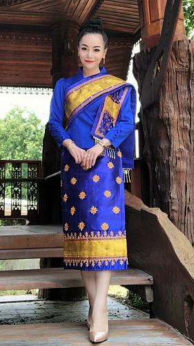 Lao Laos 3/4 Sleeve Silk Blouse Sinh Skirt Pha Bieng Beads Wedding Size 0-12