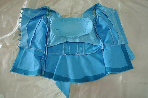 Sky Blue Lao Laos Long Sleeve Silk Blouse Lace Square Neckline Size S