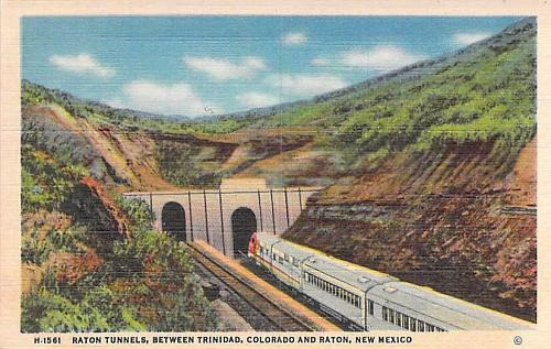 Raton Tunnels, Between Trinidad, CO and Raton New Mexico Vintage Linen Postcard