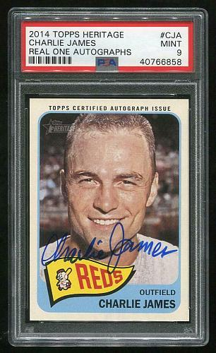2014 TOPPS HERITAGE REAL ONE AUTO CHARLIE JAMES, PSA 9 MINT (40766858)