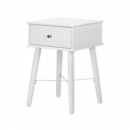 *17523U - Modern Chic White Wood 1 Drawer Accent Side Table
