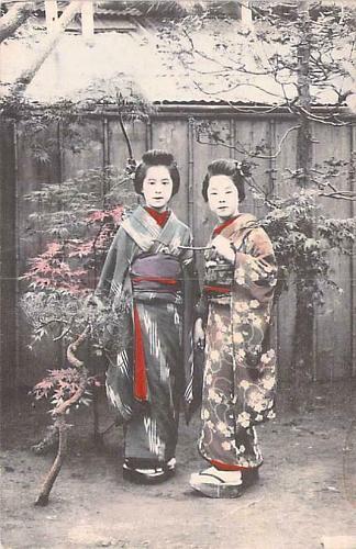 Pair of Geisha Girls Hand Tinted Color Vintage Japanese Postcard