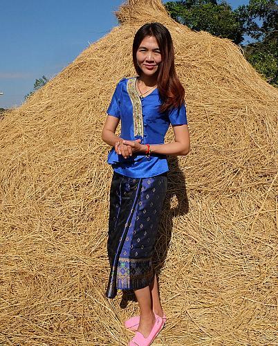 Blue Lao Laos Short SLeeve V neck Blouse Us Siz 0 Sinh Skirt XS Clothing Costume