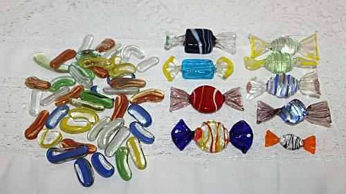 Vintage Blown Glass Art Candy Lot of 51 Pieces 9 Large Wrapped Candy, 42 Other