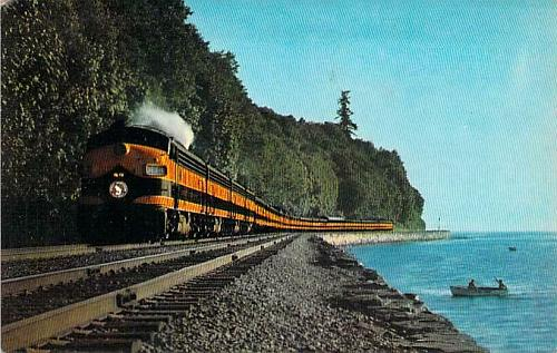 Great Northern's Railway Streamlined Empire Builder,Puget Sound Vintage Postcard