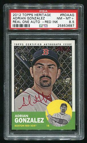 2012 TOPPS HERITAGE REAL ONE RED AUTO ADRIAN GONZALEZ PSA 8.5 NM-MT+ (25853697)