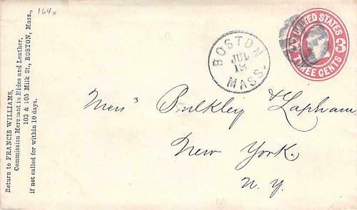 Boston Fancy Cancel U58 Cover Circa 1867