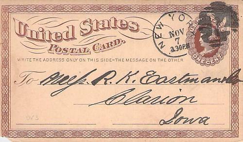 1874 UX3 New York Fancy Cancel US Postal Card