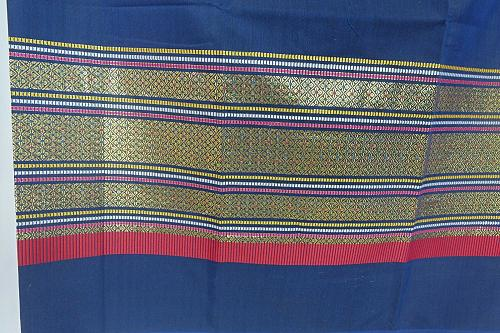 Thai Tradition Blue Synthetic Silk Fabric For Top Skirt Wedding dress E4