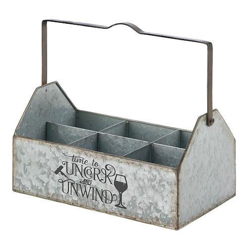 *18570U - Galvanized Metal Milkbottle Style Wine Caddy Uncork & Unwind