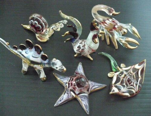 VINTAGE ANIMAL HAND BLOWN GLASS FIGURINES MINIATURE COLLECTIBLES GIFTS E