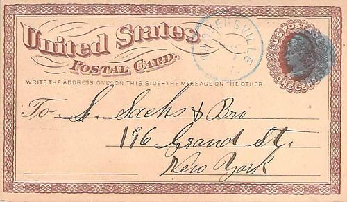 1875 UX3 Gloversville N.Y. Blue Fancy Cancel, US Postal Card