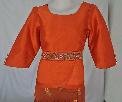 Orange Lao Laos Synthetic Silk 3/4 Sleeve Blouse Long Sinh Skirt Outfit Size L