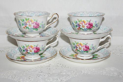 Royal Albert Fragrance 3 Sets Teacups and Saucers, Sugar Bowl & extra Saucer