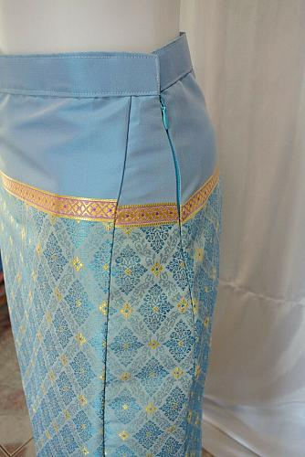 Thai Tradition Lanna Synthetic Silk Sarong long Skirt Customs to your size