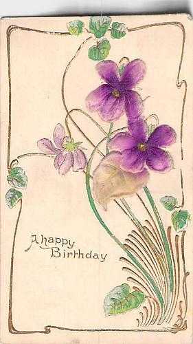 A Happy Birthday Embossed With Silk Flower Vintage Postcard