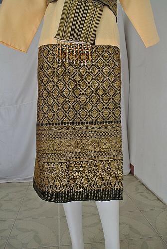 Yellow Lao Laos Synthetic Silk 3/4 Sleeve Blouse Sinh Skirt Scaft Outfit Size XL